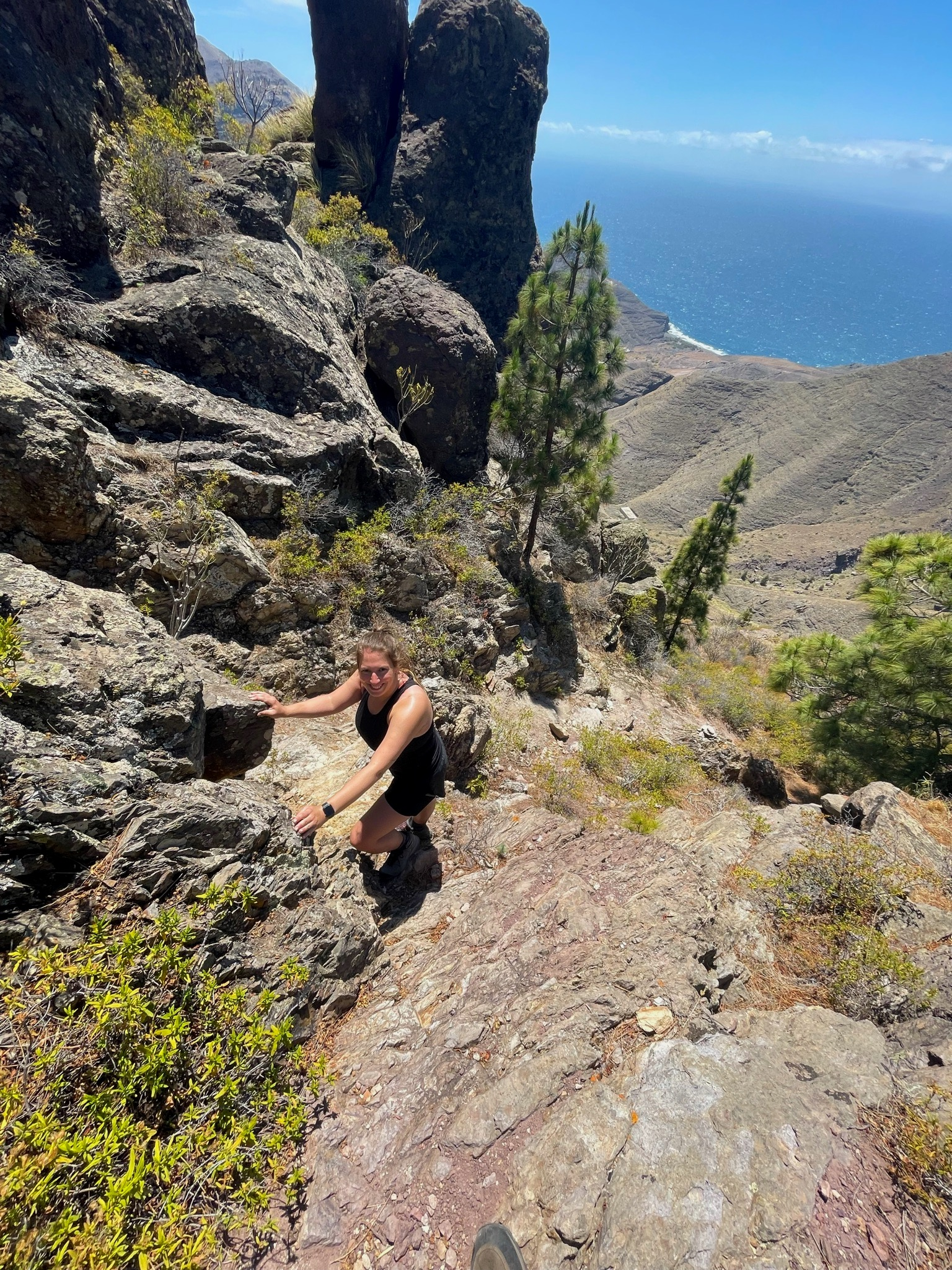 Abstieg nach El Risco am Ende der Wanderung
